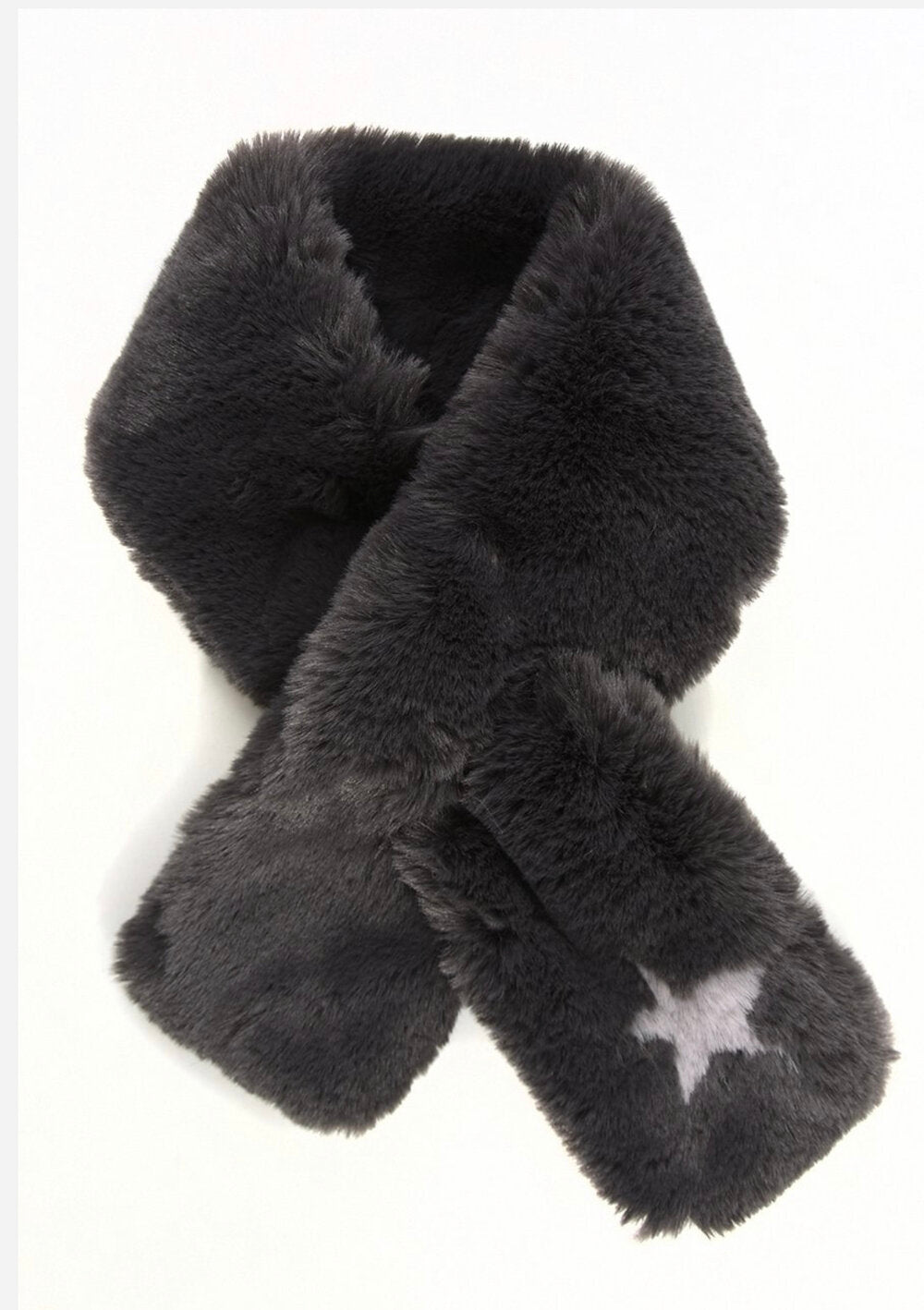 Dark Grey Faux Fur with Pale Grey star