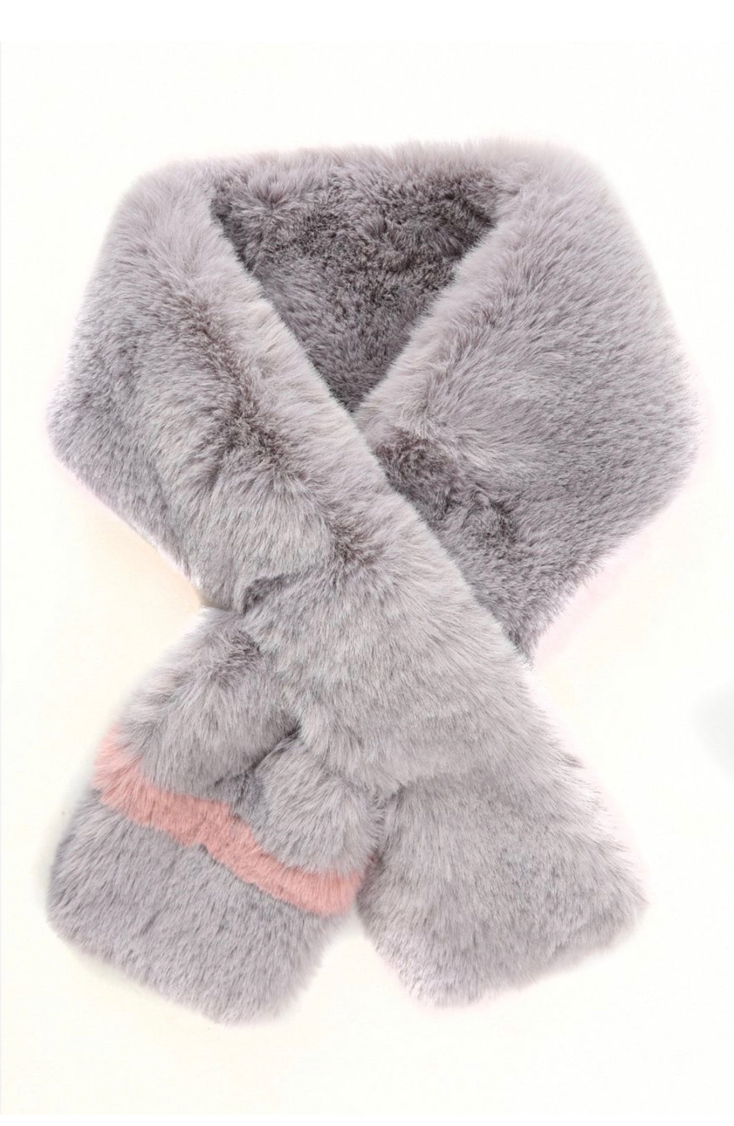 Grey and Dusty Pink Faux Fur Scarf