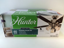 "Load image into Gallery viewer, Hunter 52115 Atkinson 46"" Indoor Brushed Nickel Ceiling Fan with Light Kit"
