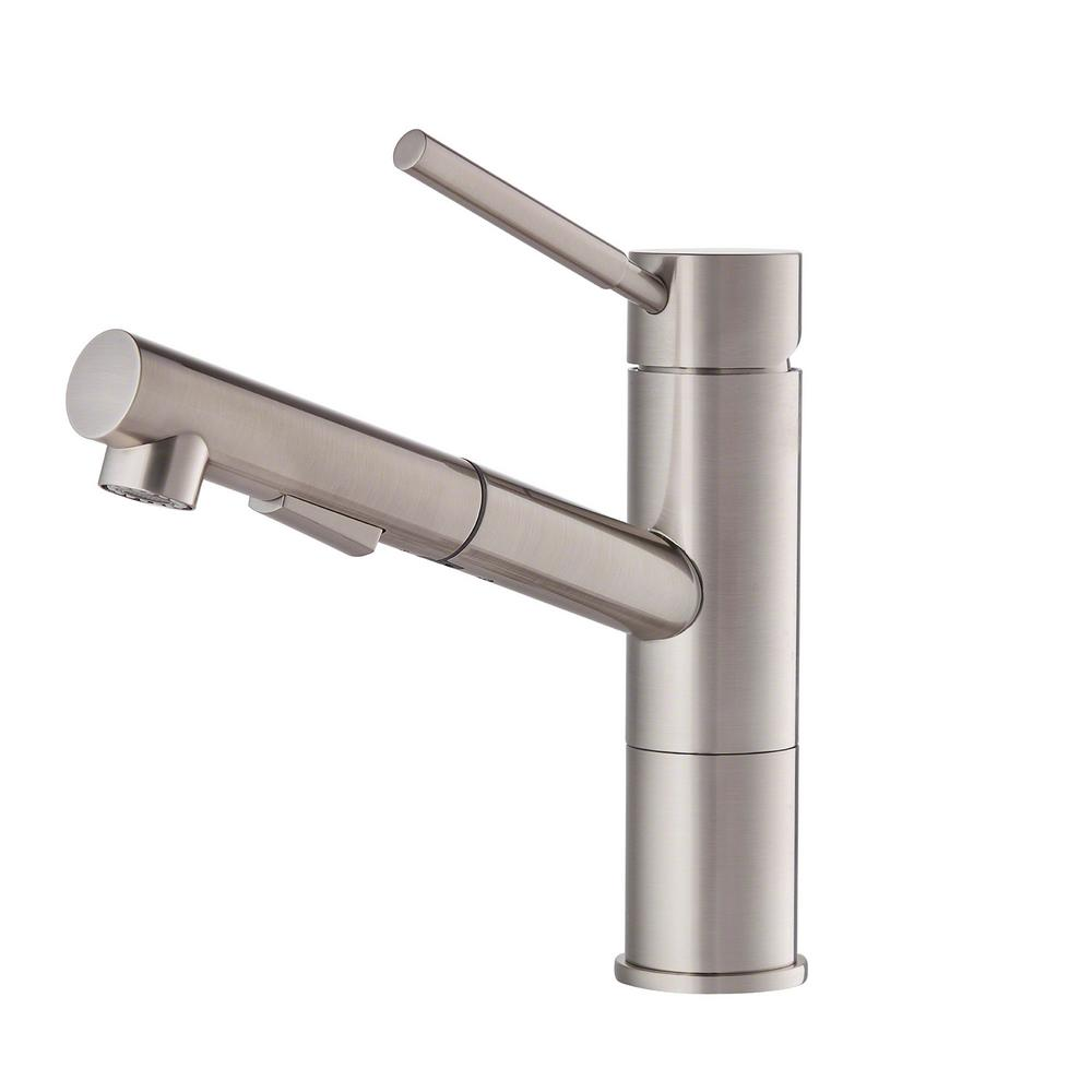 KRAUS KPF-1750ST Geo Axis Pull-Out Sprayer Kitchen Faucet in Stainless Steel