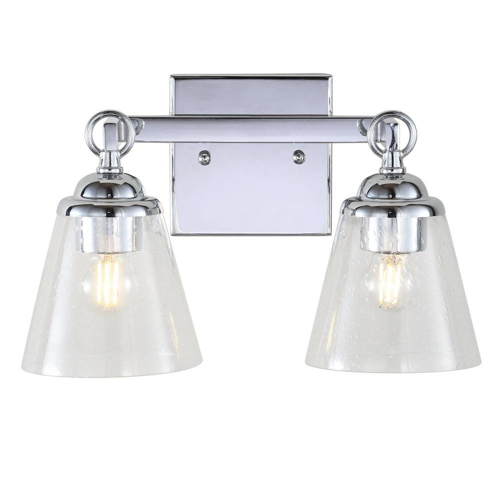 JONATHAN Y Marion 2-Light Hurricane Metal/Glass Chrome Vanity Light JYL7433A