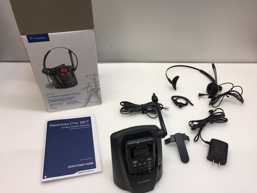 Plantronics CT14 DECT 6.0 1.90Ghz Gray Cordless Headband Headsets Phone, NOB