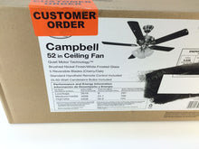 "Load image into Gallery viewer, Hampton Bay 41359 Campbell 52"" Brushed Nickel Ceiling Fan 995050"
