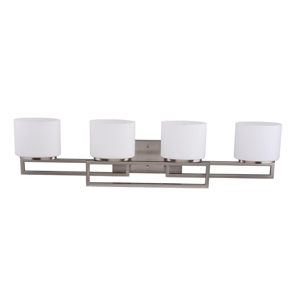 Hampton Bay 20367-001 4-Light Brushed Nickel Bathroom Vanity Light 1002230849