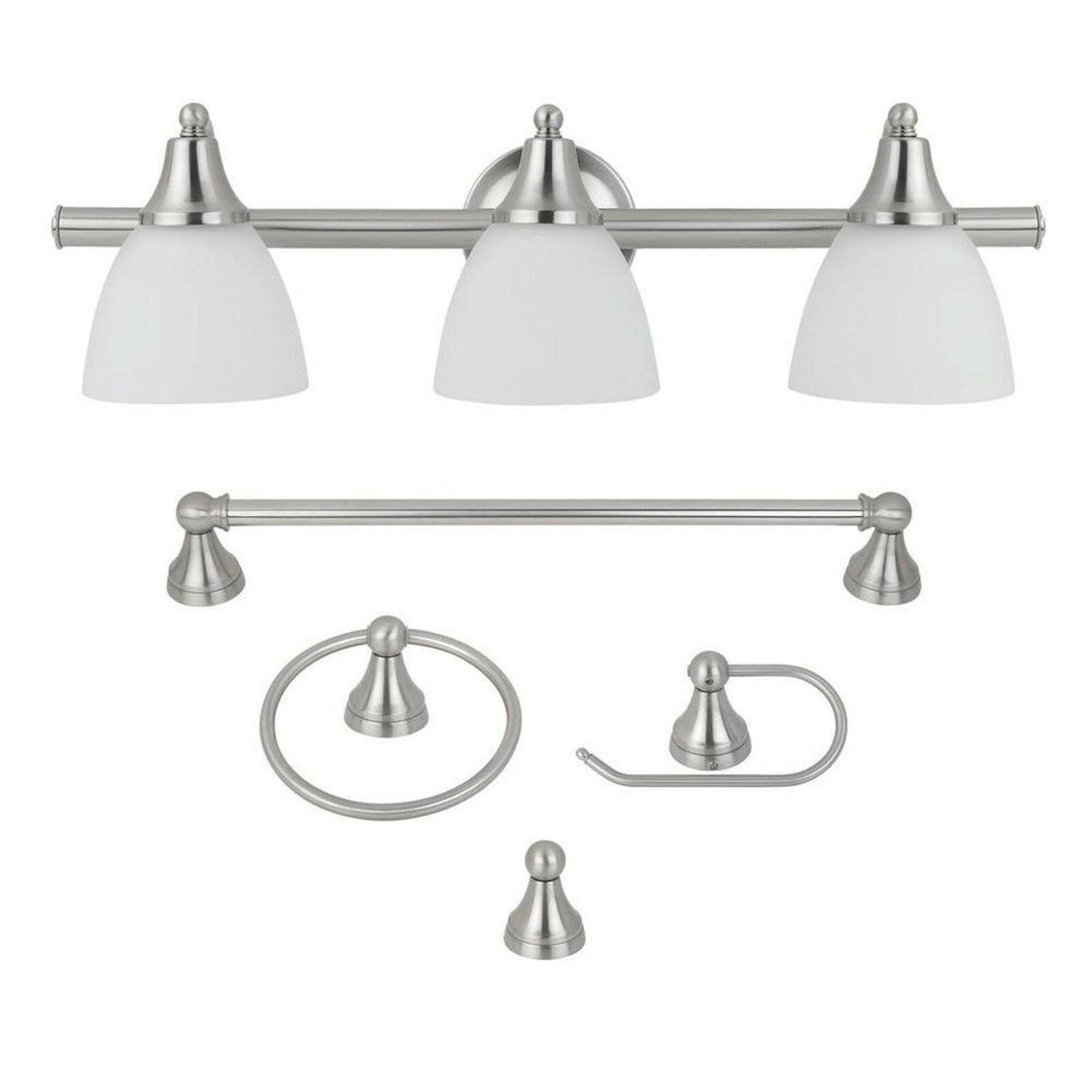 Globe Electric Estorial 50700 3-Light Brushed Nickel Vanity Light (4-Piece)