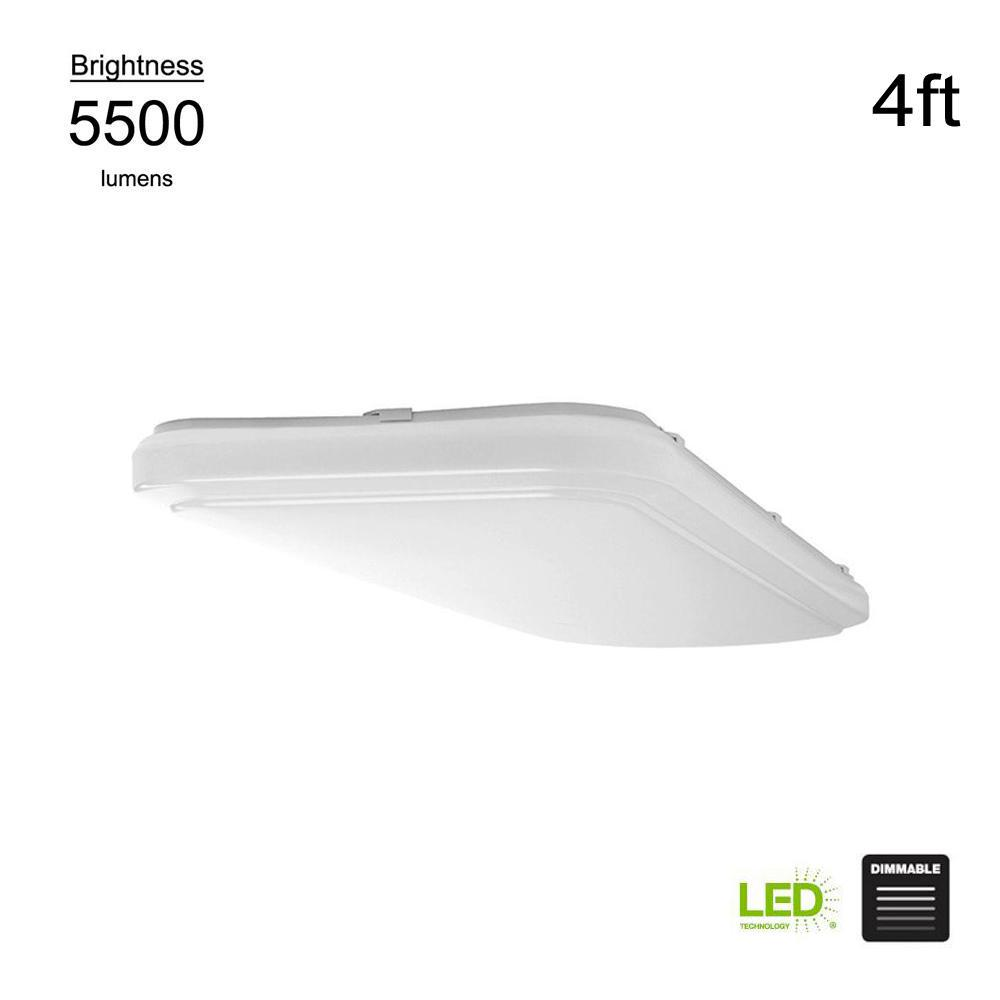 Hampton Bay 4ft x 1.5ft White Rectangular LED Flush Mount Puff Light 54649141