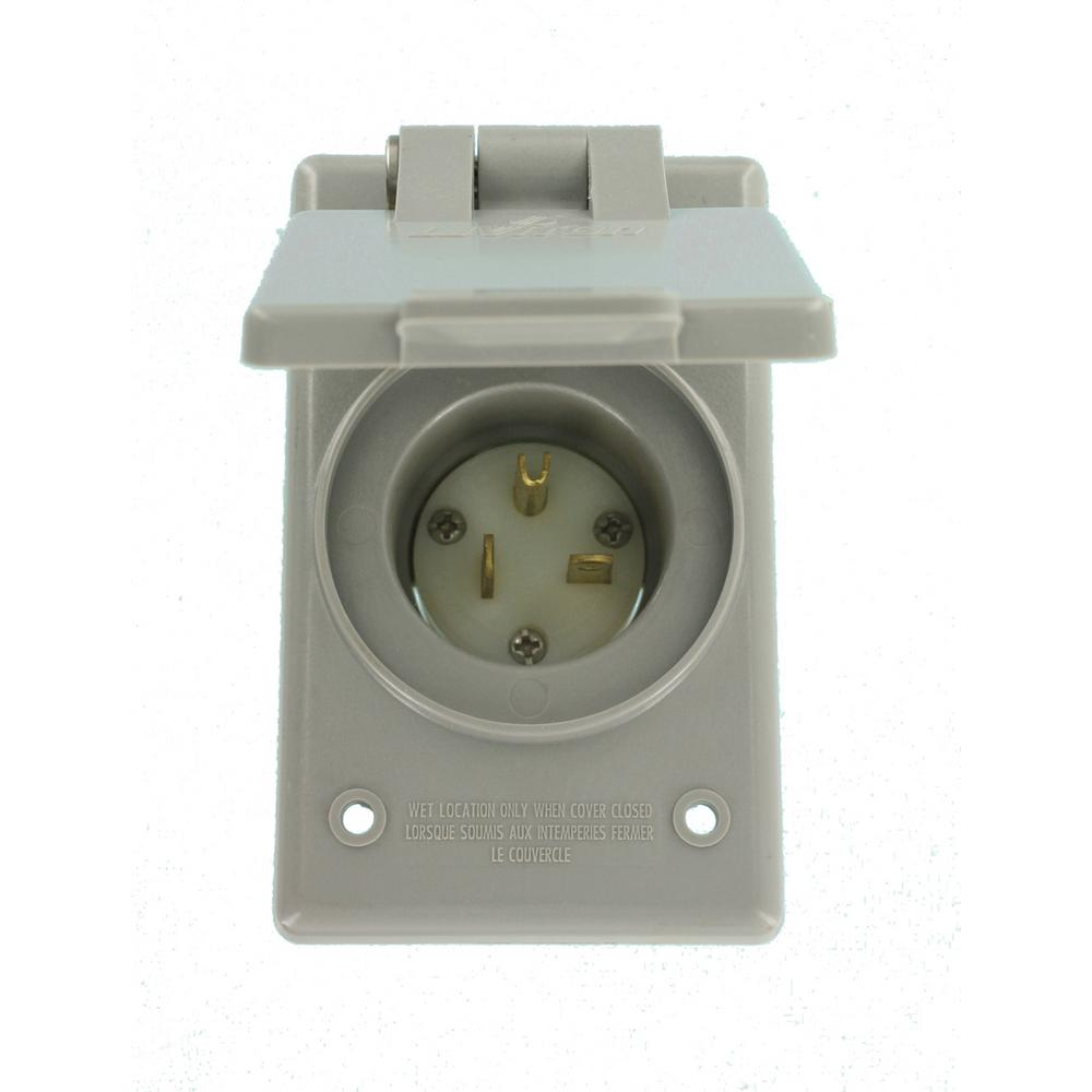 Leviton 20 Amp 250-Volt Straight Blade Grounding Power Inlet Outlet 5478-CWP