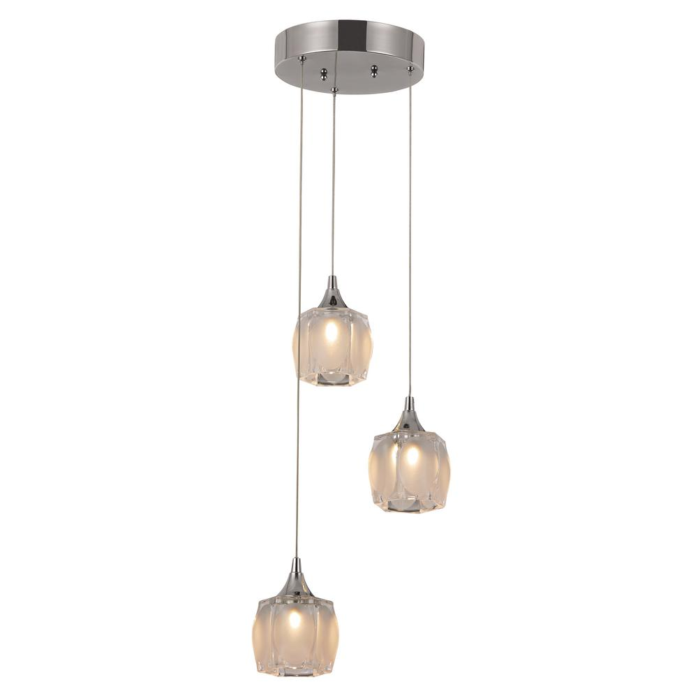 Trans Globe Lighting Mystique 15-Watt Polished Chrome LED Pendant MDN-1378