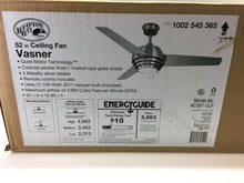 "Load image into Gallery viewer, Hampton Bay Vasner 52"" Indoor Colonial Pewter Ceiling Fan with Remote AC387-CLP"