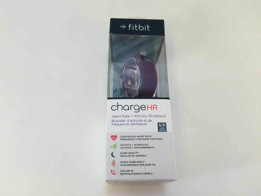 Fitbit Charge HR FB405 Wireless Activity Wristband Tracker, Plum Small