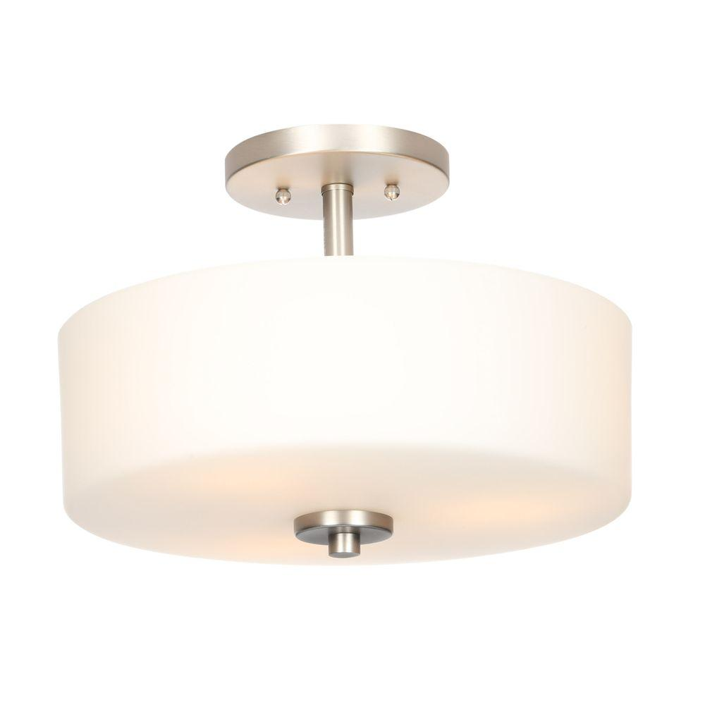 Hampton Bay Leeston 14in. 3-Light Brushed Nickel Semi-Flushmount 89543