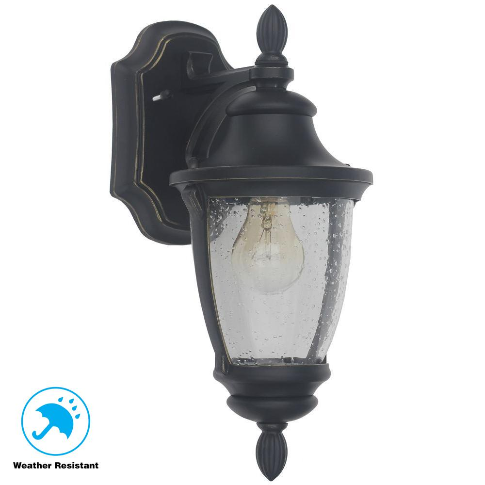 Home Decorators Wilkerson 23453 1-Light Black Outdoor Wall Mount 1001564313