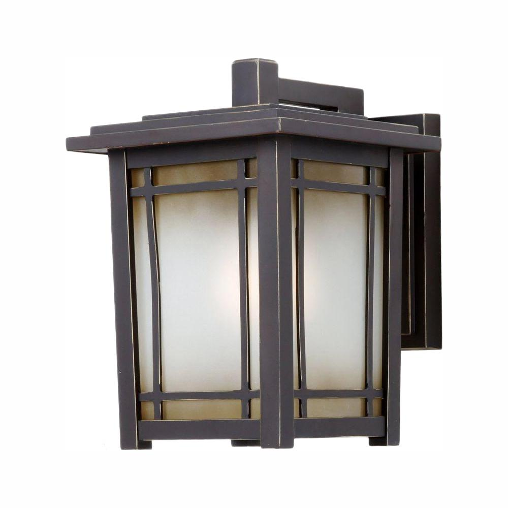 Home Decorators Port Oxford 1-Light Oil Rubbed Chestnut Wall Lantern Sconce