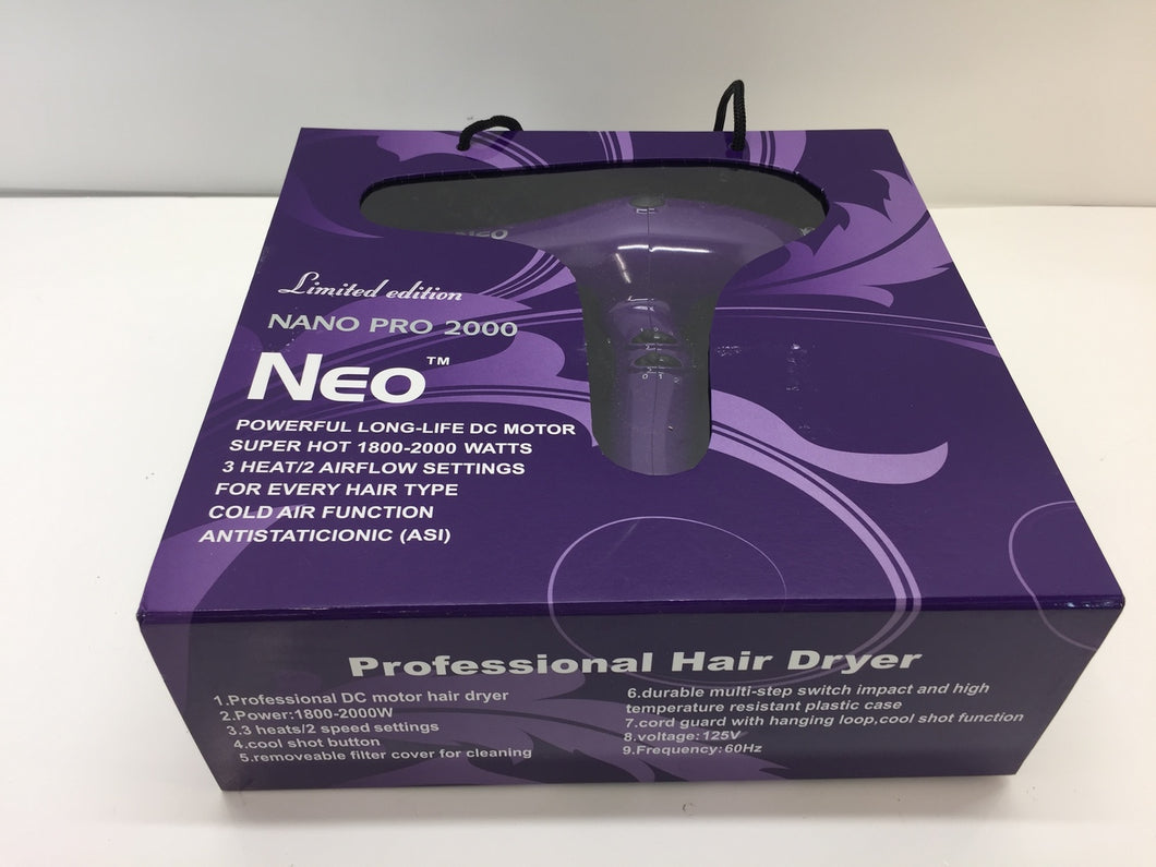 Neo Nano Pro 2000 Ionic Hair Blow Dryer - Super Hot 1800-2000 Watts - Purple