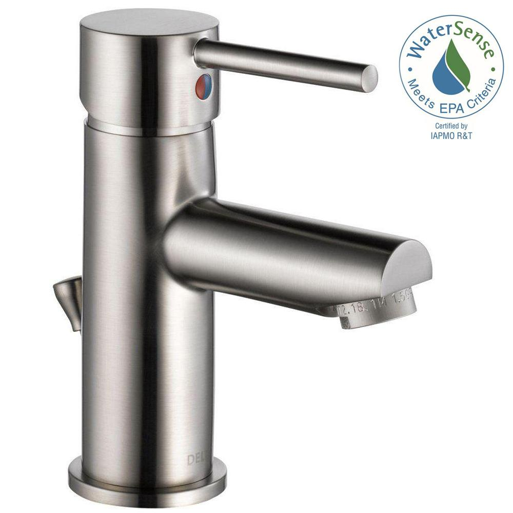 Delta 559LF-SSPP Modern Single Hole Single-Handle Bathroom Faucet in Stainless