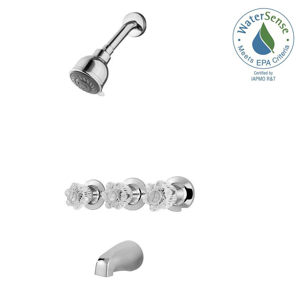 Pfister 801-WS-BDCC Bedford 3-Handle Tub and Shower Faucet in Polished Chrome