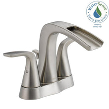 "Load image into Gallery viewer, Delta 25724LF-SS-ECO Tolva 4"" Centerset 2-Handle Bath Faucet, Brushed Nickel"