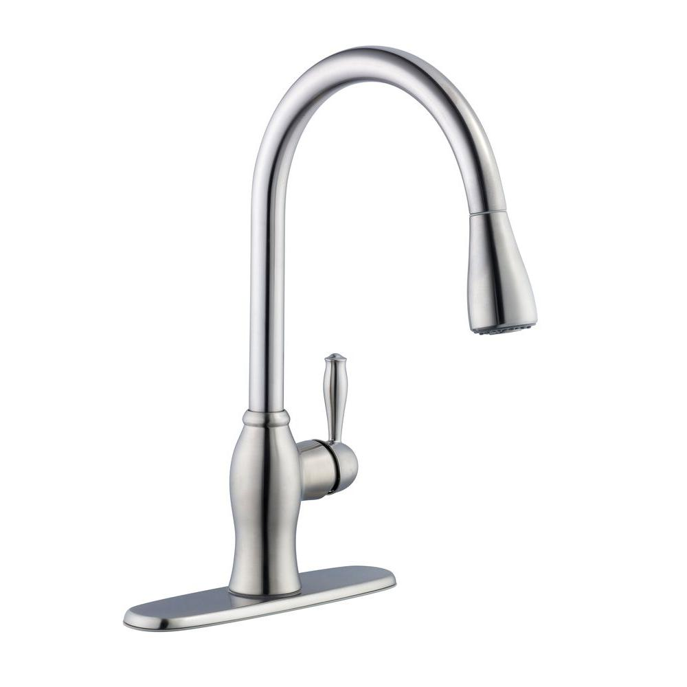 Pegasus 67403-1108D2 1-Handle Pull-Down Sprayer Kitchen Faucet Stainless Steel