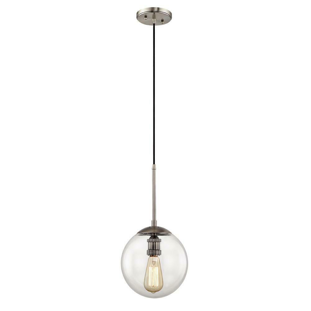 Home Decorators 9 in. 1-Light Historic Nickel Globe Pendant HD-1611HN