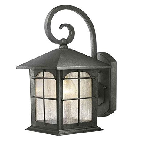Home Decorators Brimfield 1-Light Aged Iron Outdoor Wall Lantern Sconce 272198