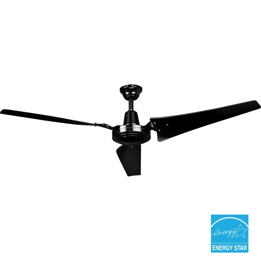 Hampton Bay 26829 Industrial 60 in. Indoor Black Ceiling Fan with Wall Control