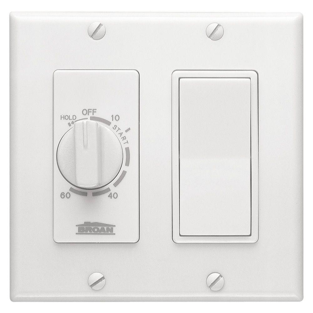 Broan-NuTone 36W 15 Amp 60-Minute In-Wall Dial Timer with Rocker Switch White