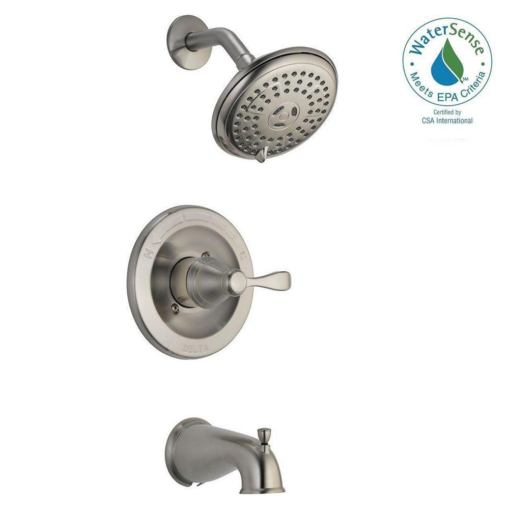 Delta 144984-BN-A Porter 1-Handle 3-Spray Tub & Shower Faucet Brushed Nickel