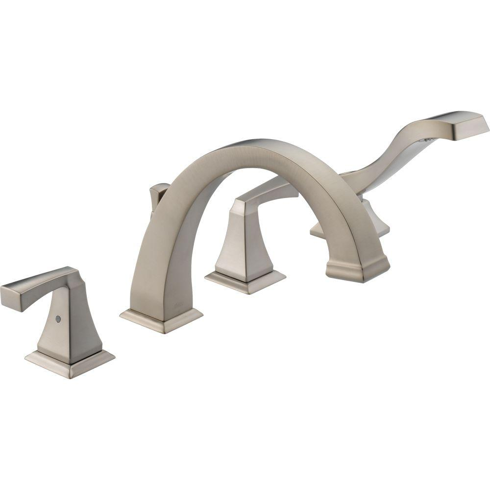 Delta T4751-SS Dryden Deck-Mount Roman Tub Faucet Trim Kit Only Stainless