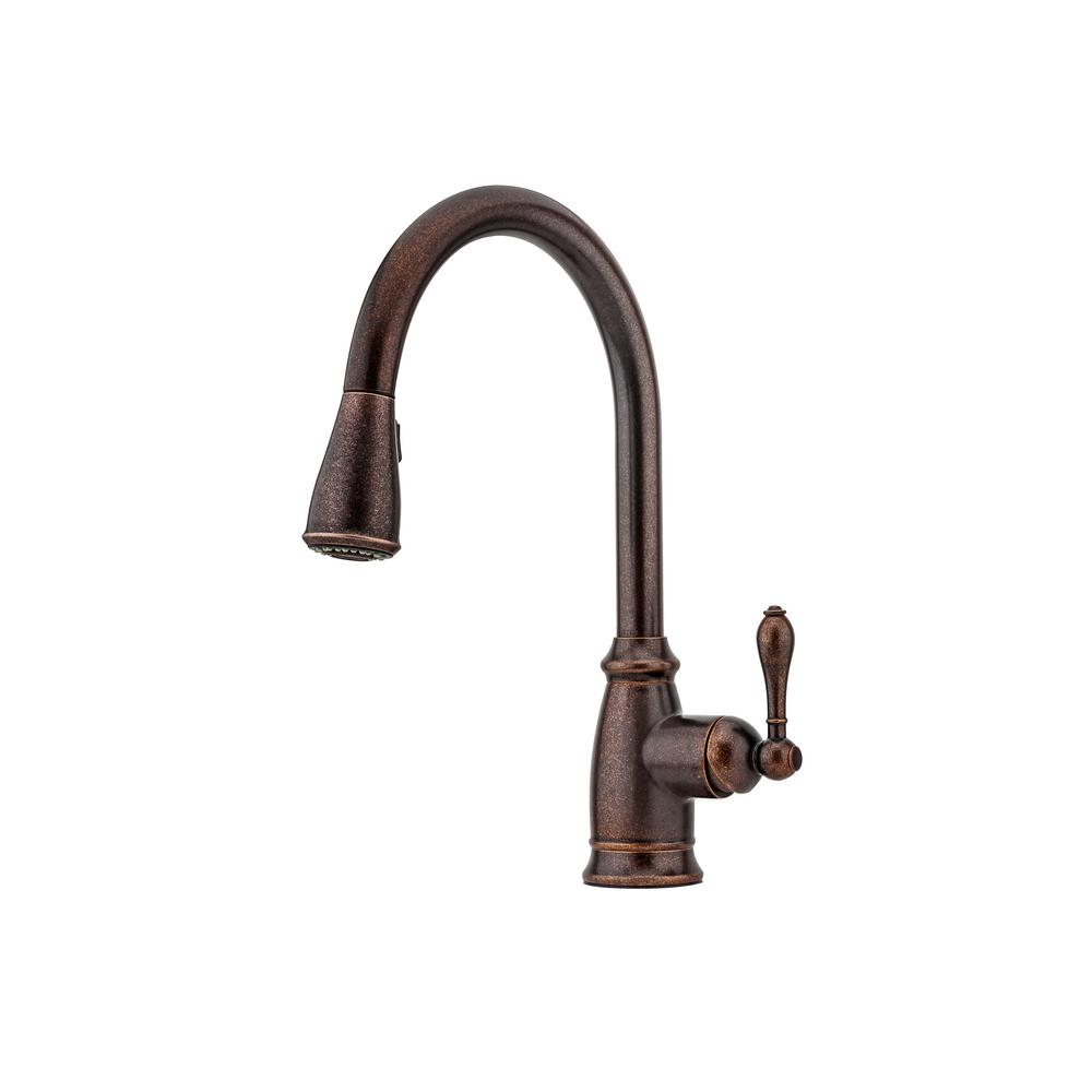 Pfister F-529-7CNU Canton Pull-Down Sprayer Kitchen Faucet Rustic Bronze