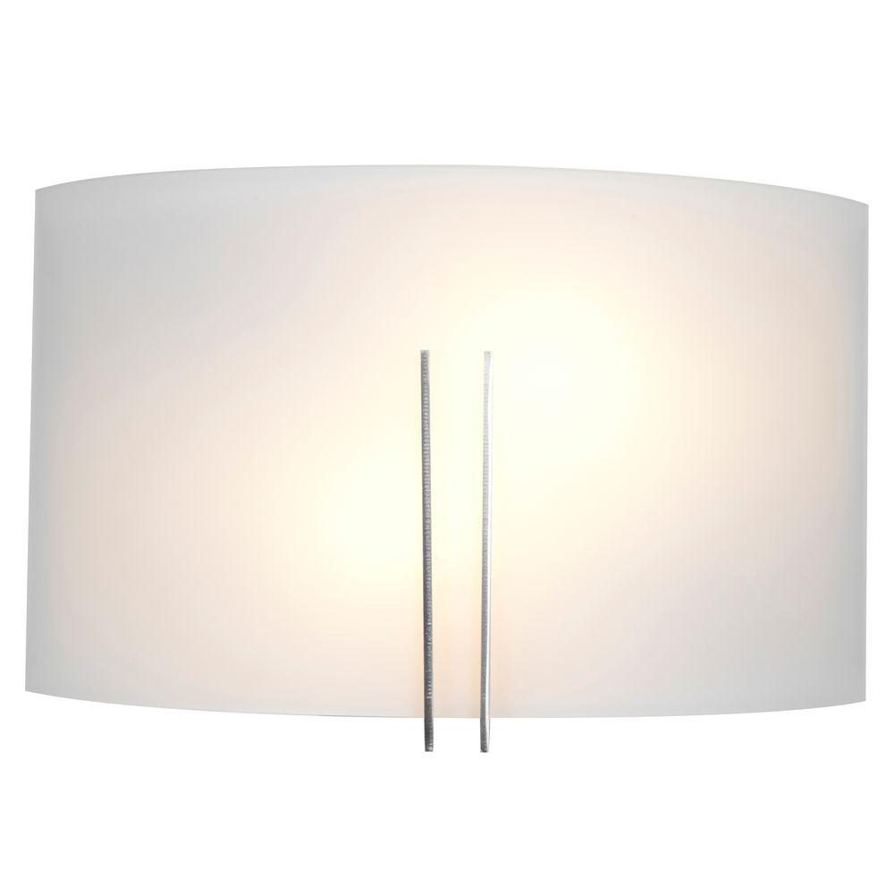 Access Lighting Prong 2 Light Brushed Steel with Sconce White Shade 20447-BS/WHT