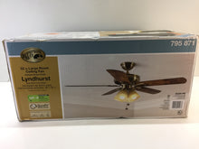 "Load image into Gallery viewer, Hampton Bay Lyndhurst 52"" LED Antique Brass Ceiling Fan with Light Kit 51013"