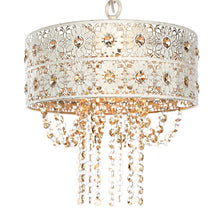 Load image into Gallery viewer, River of Goods 1-Light Champagne Chandelier with Jeweled Blossoms Shade 15027
