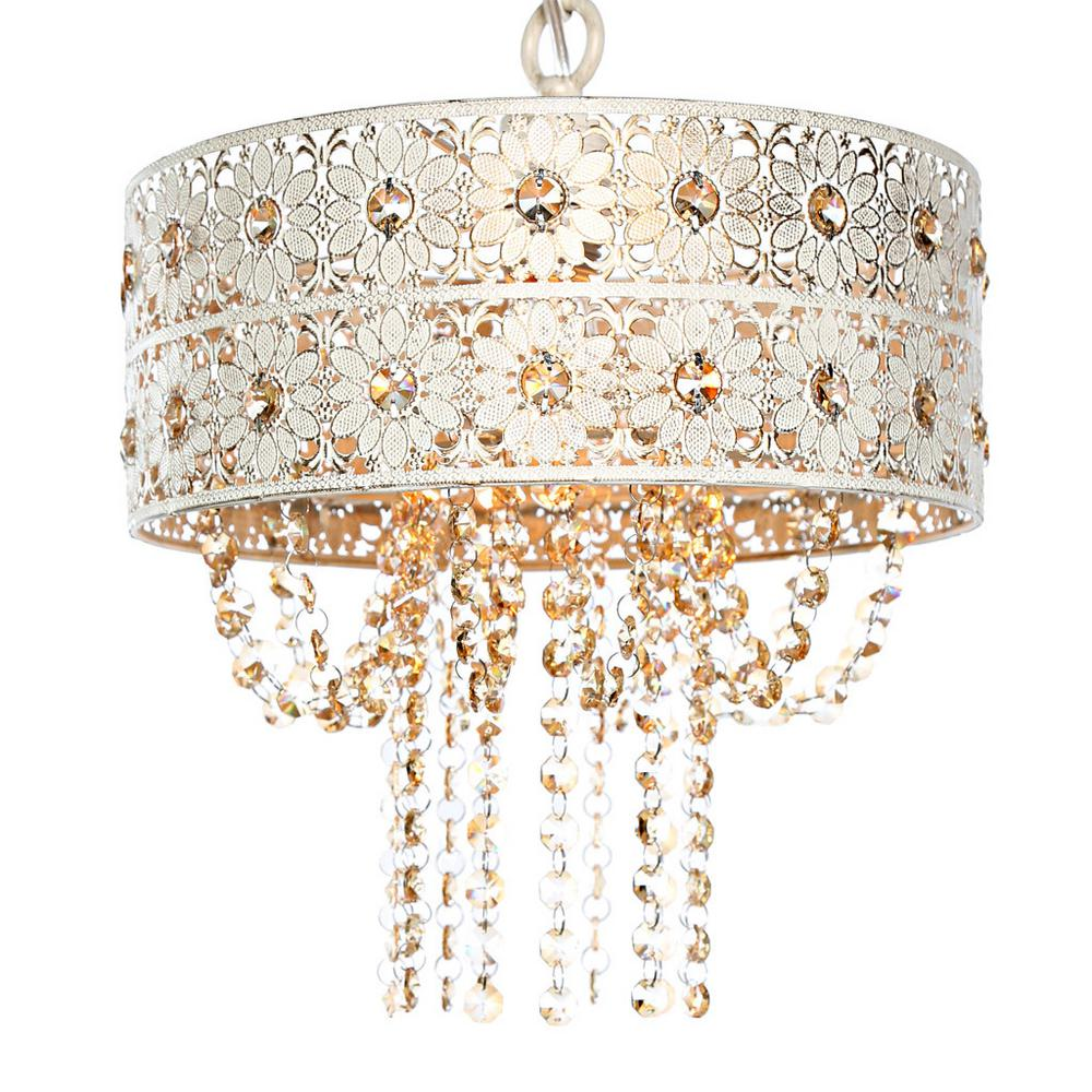 River of Goods 1-Light Champagne Chandelier with Jeweled Blossoms Shade 15027
