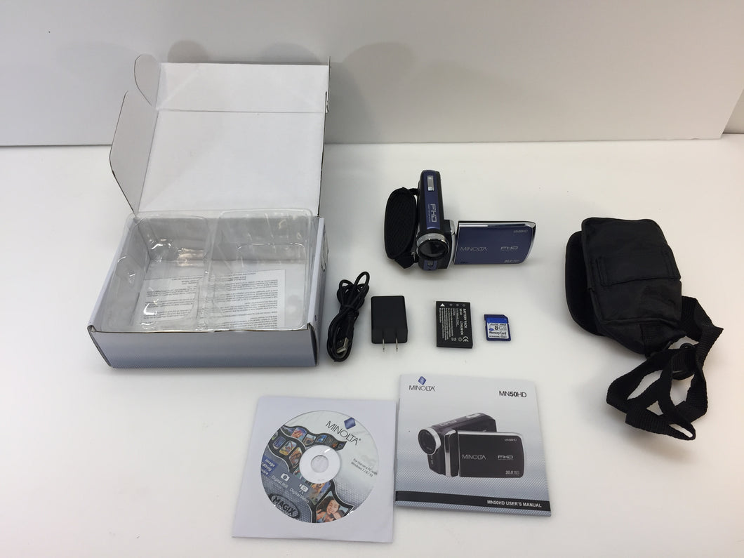 Minolta MN50HD-BL 20MP Digital Camcorder 8x Digital Zoom, Blue