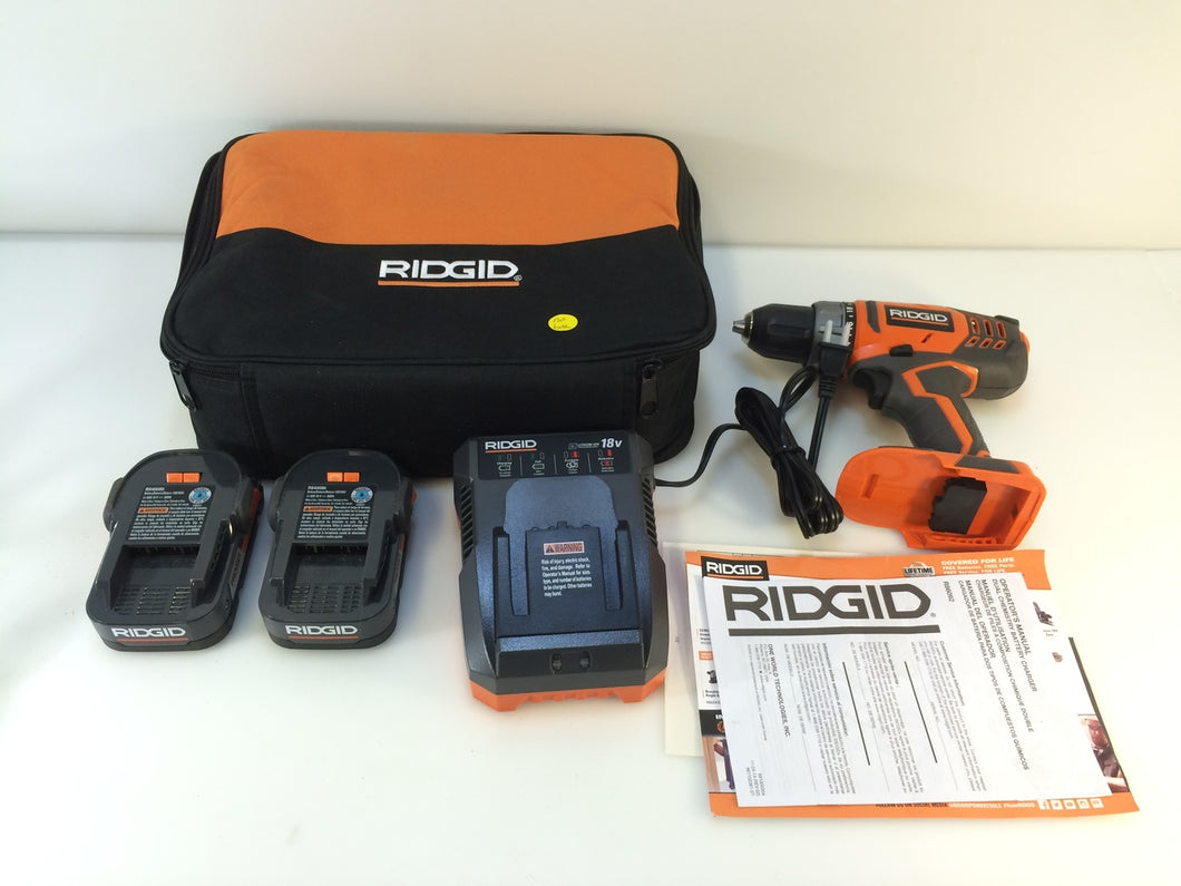 RIDGID R860052K 18-Volt Lithium-Ion 1/2 in. Cordless Compact Drill/Driver Kit