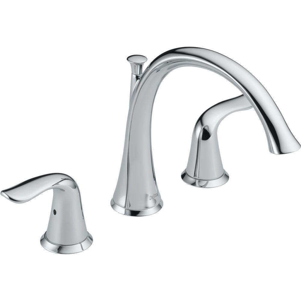 Delta T2738 Lahara 2-Hanlde Deck-Mount Roman Tub Faucet Trim Kit Only Chrome