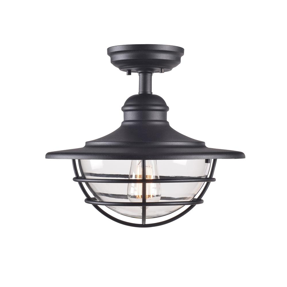 Kenroy Home 93669BL Eli 1-Light Black Semi-Flush Mount