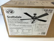 "Load image into Gallery viewer, Hampton Bay SW1321BN Scottsdale 52"" Indoor Brushed Nickel Ceiling Fan 538855"
