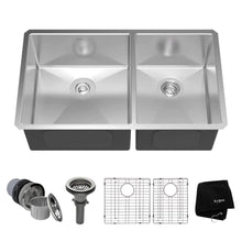 "Load image into Gallery viewer, Kraus KHU103-33 33"" Undermount 60/40 Double Bowl Stainless Steel Sink Kit"