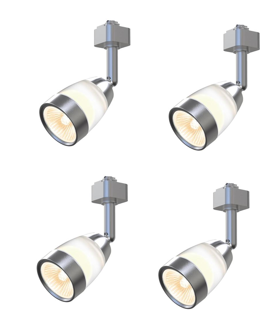 (4-PACK) Hampton Bay Frosted Middle Glass Brushed Nickel Track Light Head 804189