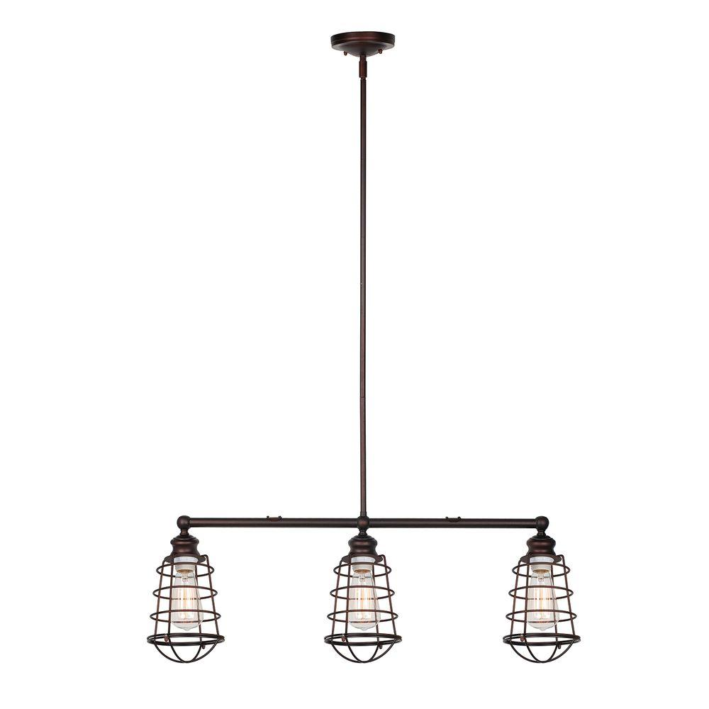 Design House 519785 Ajax 3-Light Textured Coffee Bronze Indoor Pendant