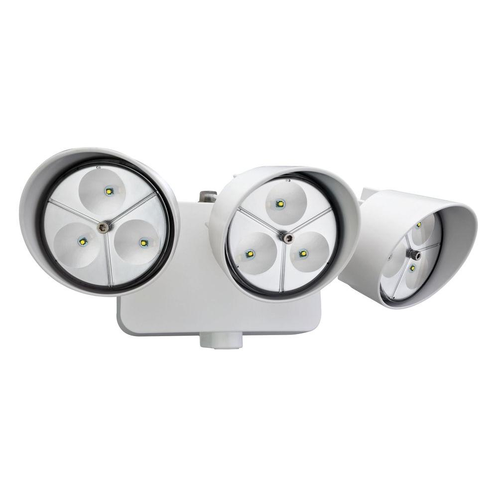 Lithonia Lighting OFLR 9LN 120 P WH 3-Head White LED Wall-Mount Flood Light