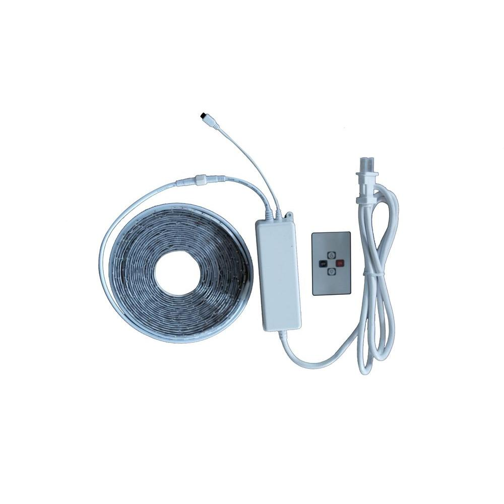 Commercial Electric DC9521WH-A 24ft. LED Warm White Tape Light Kit 1001798987