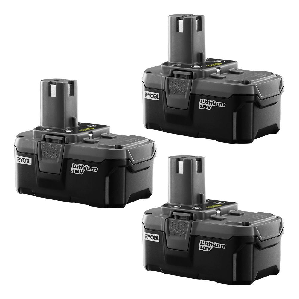 Ryobi P185 18-Volt ONE+ Lithium-Ion High Capacity Battery Pack 3.0Ah (3-Pack)