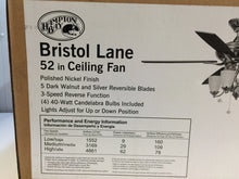 Load image into Gallery viewer, Hampton Bay 14950 Bristol Lane 52 in. Polished Nickel Ceiling Fan 251297