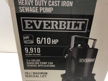 Load image into Gallery viewer, Everbilt ESE60W-HD 6/10 HP Heavy Duty Cast Iron Sewage Pump 1000026319