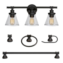 Load image into Gallery viewer, Globe Electric 50192 Parker 3-Light Oil Rubbed Bronze 5-Piece Bath Light Set