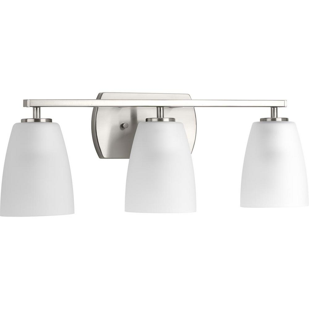 Progress Lighting P300133-009 Leap Collection 3-Light Brushed Nickel Bath Light