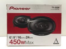 "Load image into Gallery viewer, (1-pair) Pioneer TS-900M 6"" x 9"" 4-way Coaxial Speakers 450W Max Power, NOB"