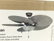 "Load image into Gallery viewer, Hampton Bay 51328 Havana 48"" Cambridge Silver Ceiling Fan with Light 600524"